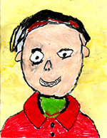 Self Portrait. Oil pastels on water wash. Students are encouraged to explore their identity with the visual arts.