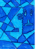 Student Self Portrait. Cubist style, oil pastel. In art lessons students learn about and experiment with different styles of art.