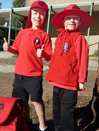Uniform Options. As a Sunsmart school Aranda Primary expects students to wear either a Legionnaire's cap (left), a broadbrimmed hat (left) or a bucket hat (not shown) between the months of September and May and are available from the uniform shop. Also available from the shop are red polar fleece vests (right) or jackets (not shown) and a good quality backpack with the Aranda School Logo.