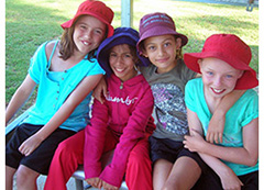 Relaxing together at camp